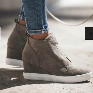 Shoes - Taupe faux suede wedge sneaker